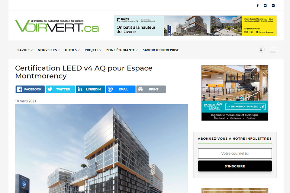 Certification LEED v4 AQ pour Espace Montmorency