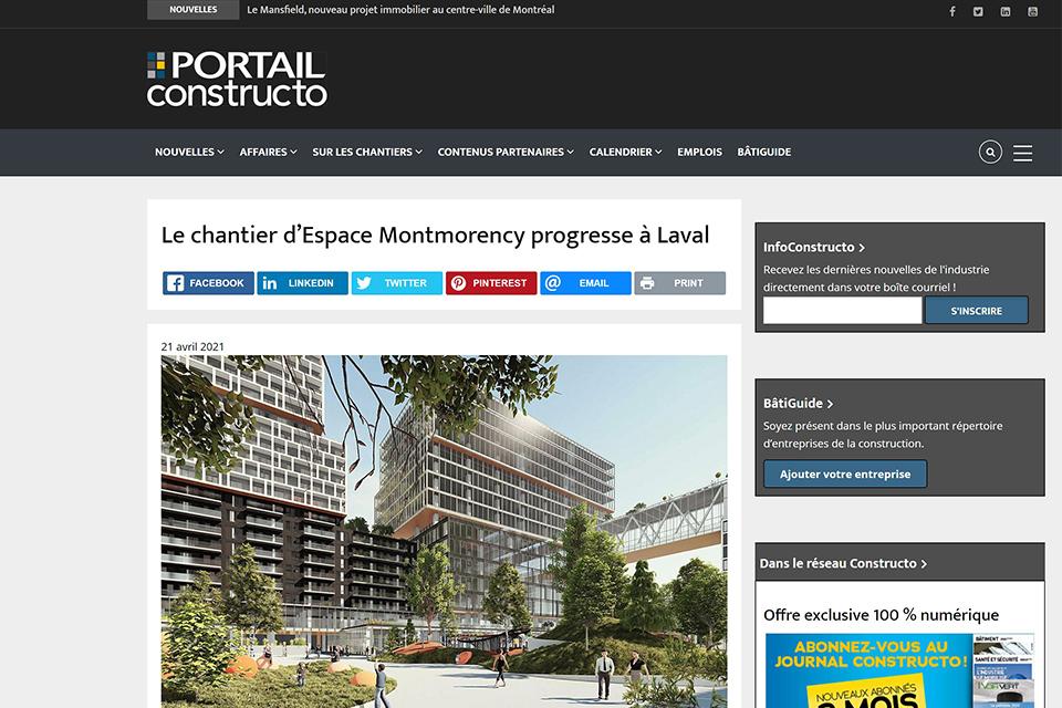 Le chantier d'Espace Montmorency progresse à Laval