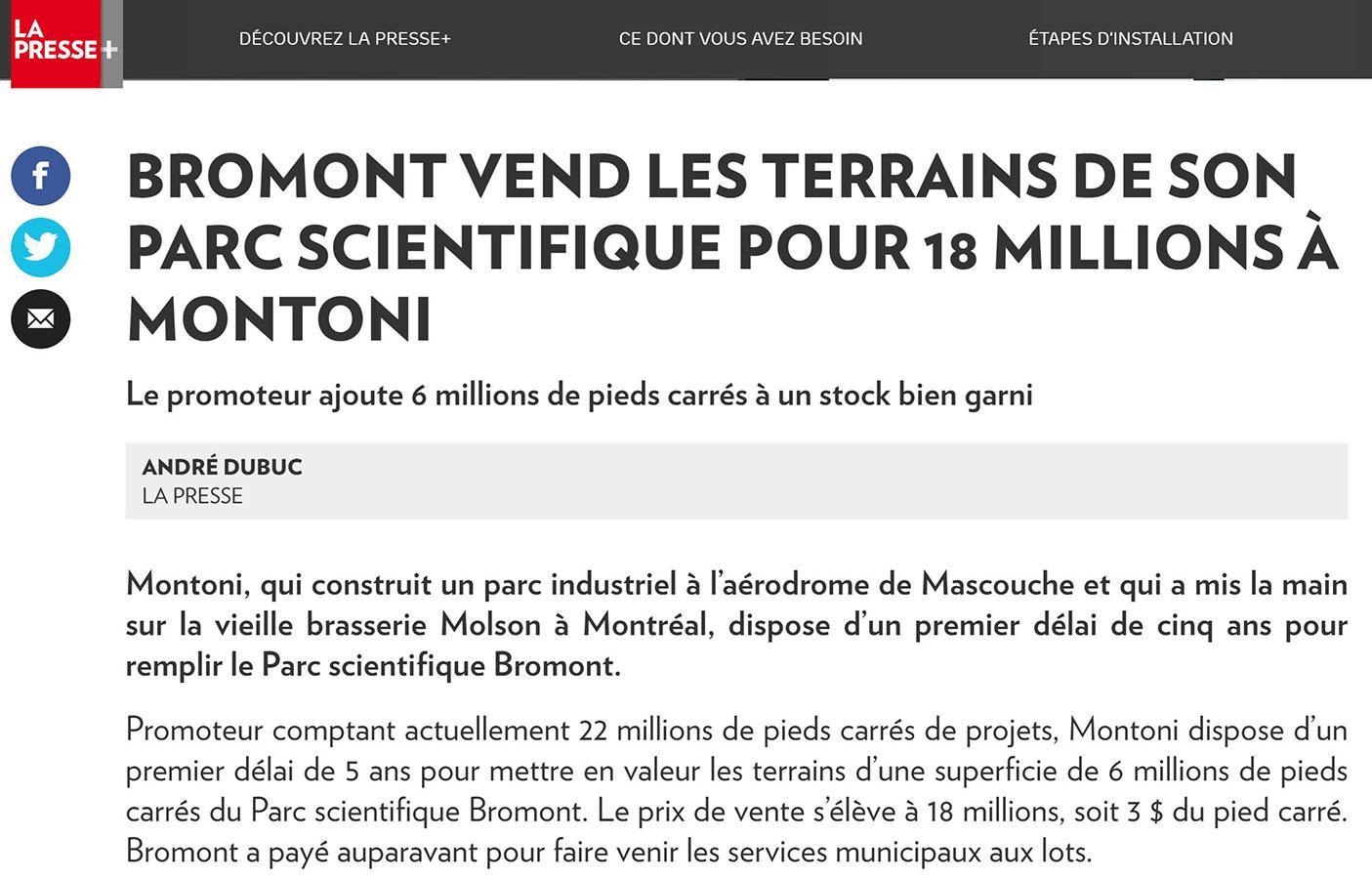 Bromond vend les terrains de son parc scientifique pour 18 mllions à MONTONI