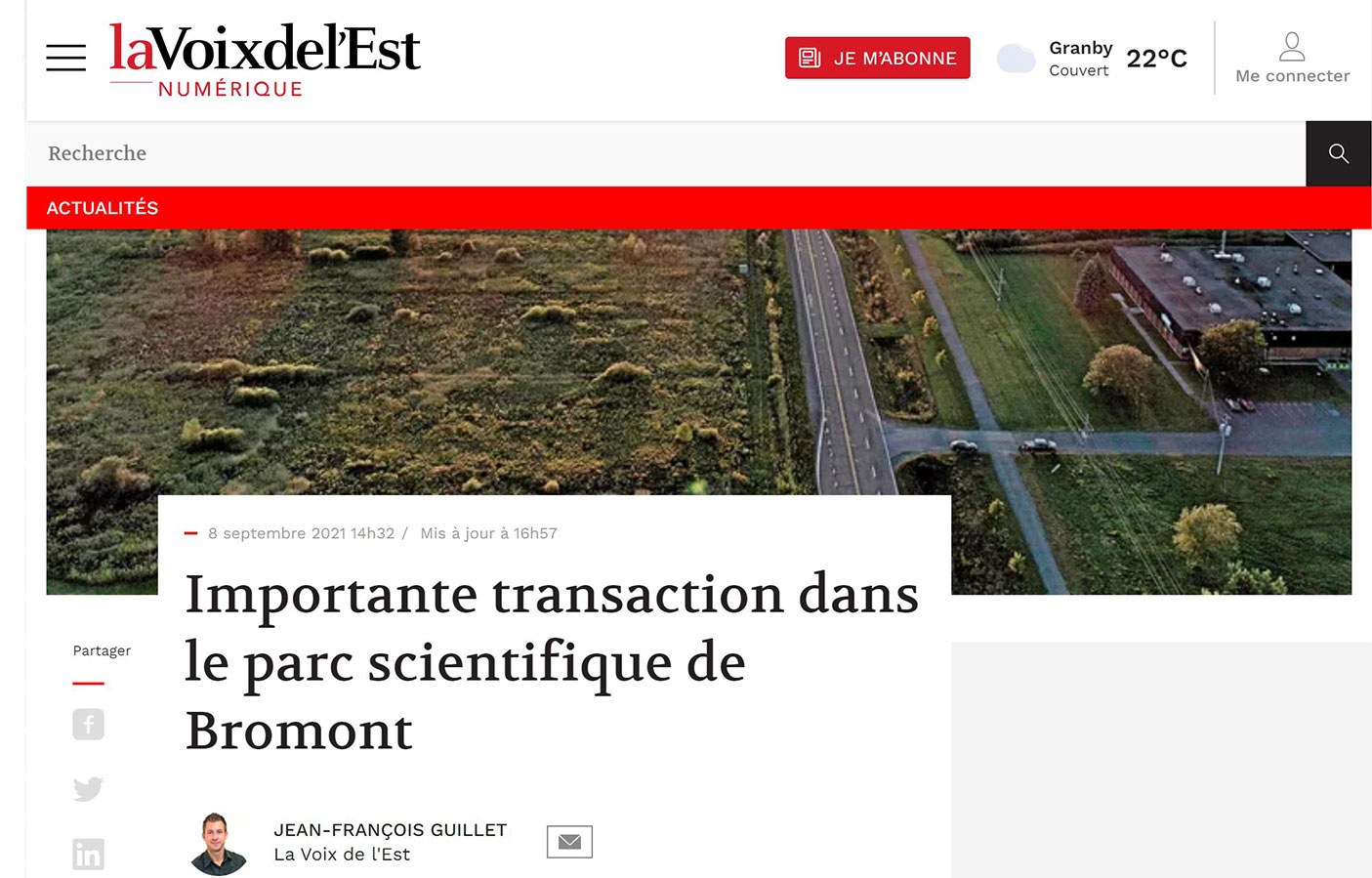 Importante transaction dans le parc scientifique de Bromont