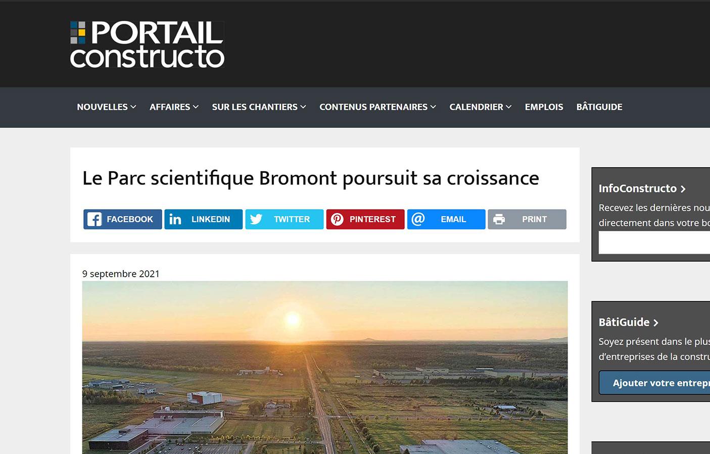 Le Parc scientifique Bromont poursuit sa croissance