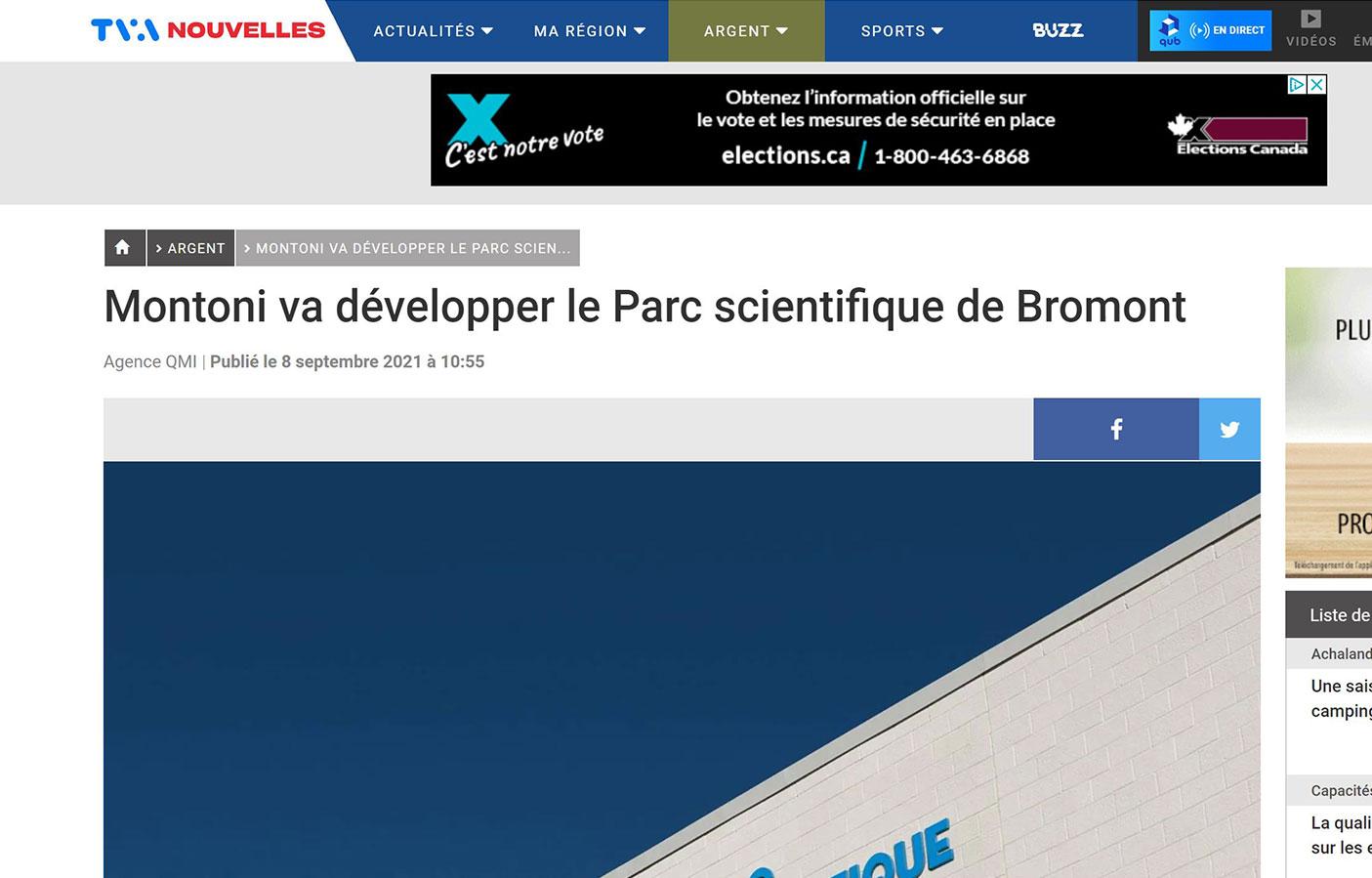 Montoni va développer le Parc scientifique de Bromont