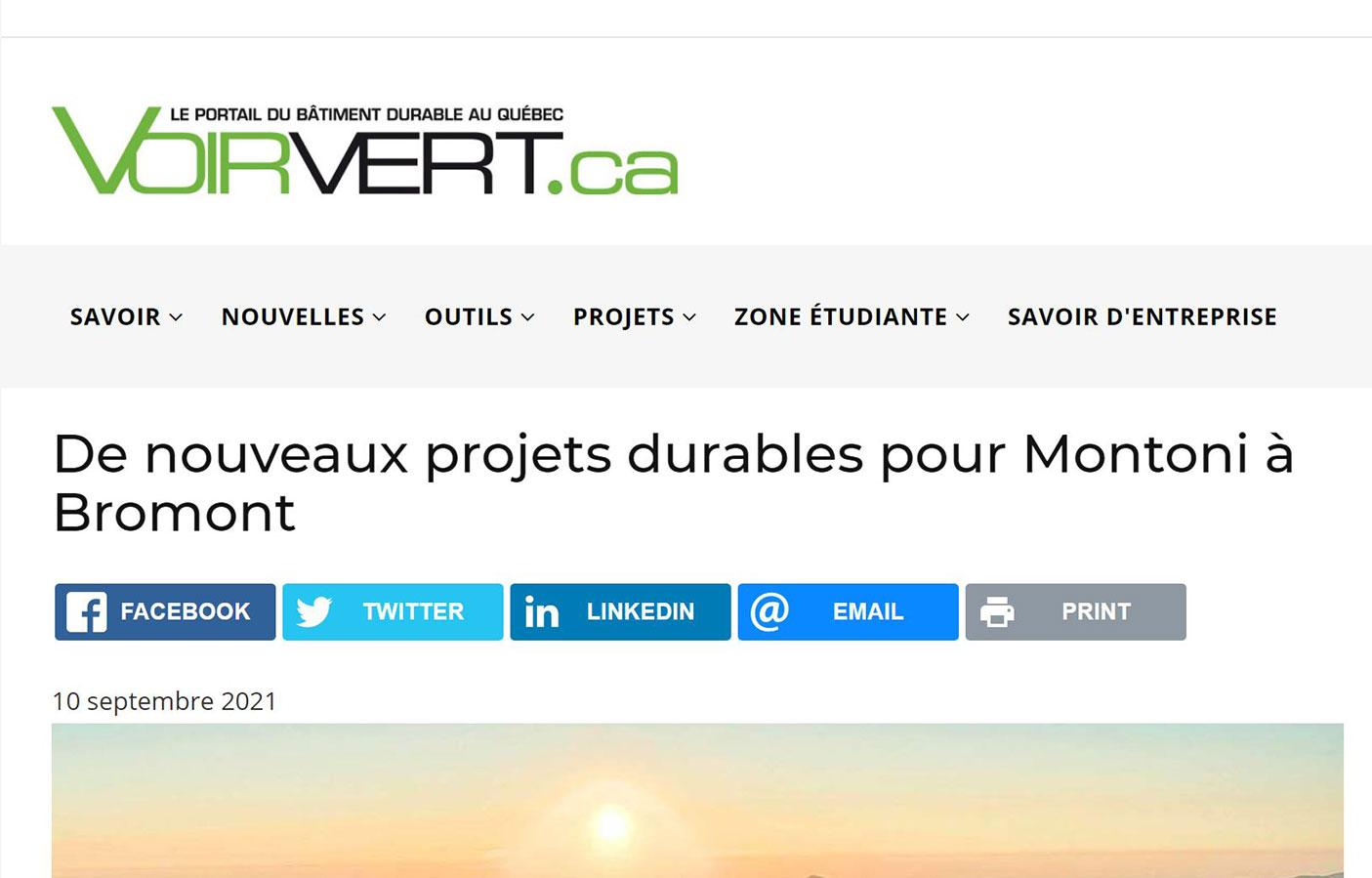De nouveaux projets durables pour Montoni à Bromont