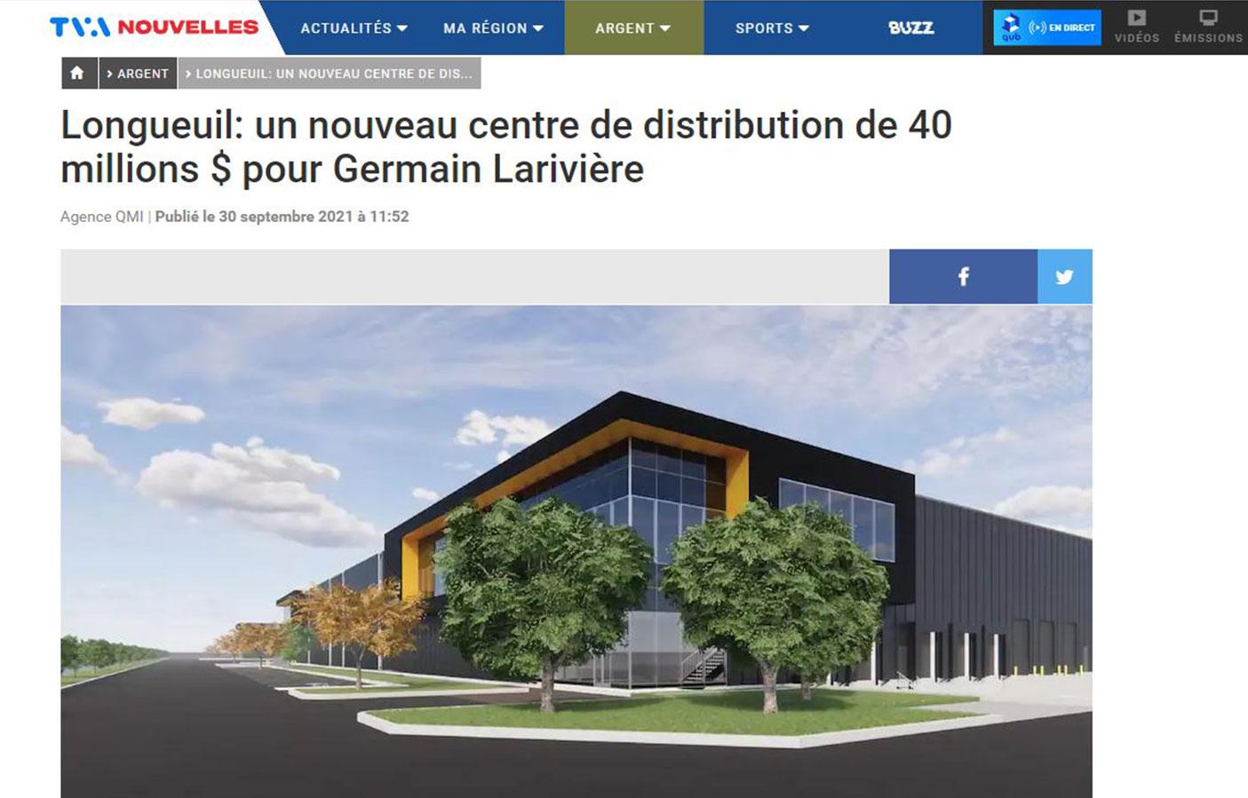 Longueuil: un nouveau centre de distribution de 40 millions $ pour Germain Larivière