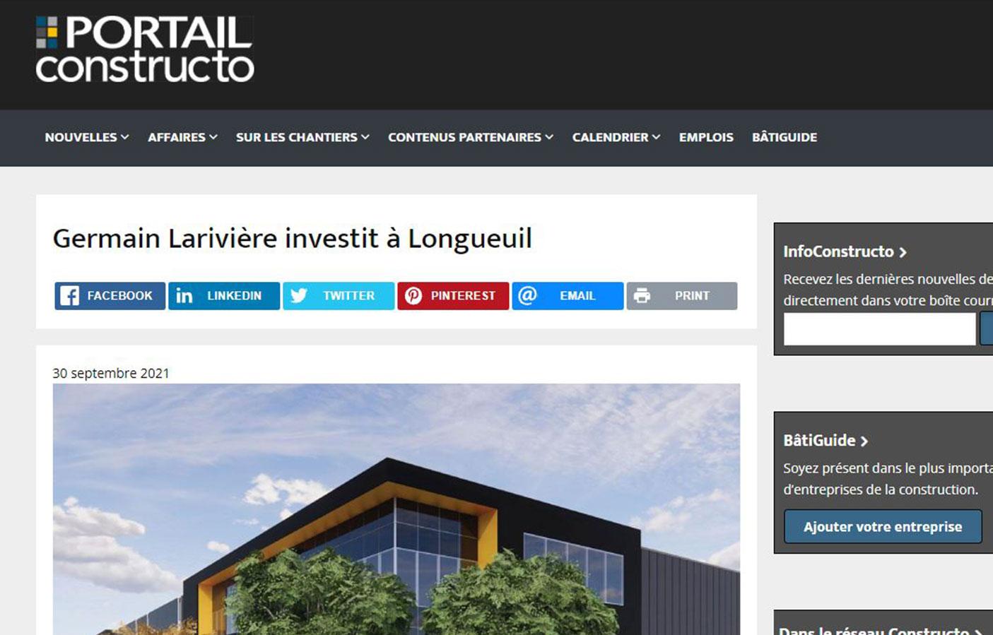 Germain Larivière investit à Longueuil