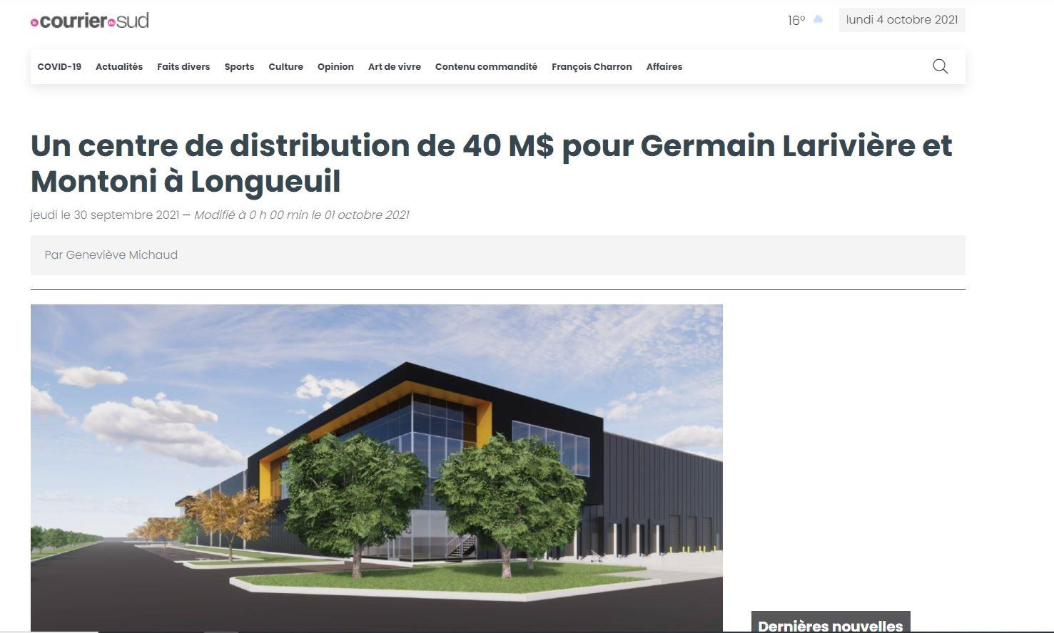 Un centre de distribution de 40 M$ pour Germain Larivière et Montoni à Longueuil