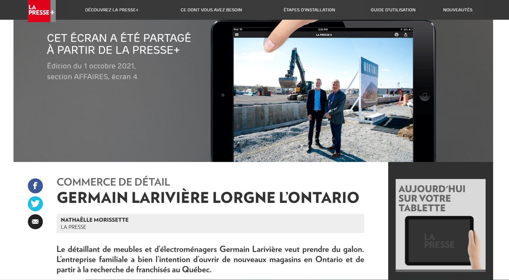GERMAIN LARIVIÈRE LORGNE L'ONTARIO