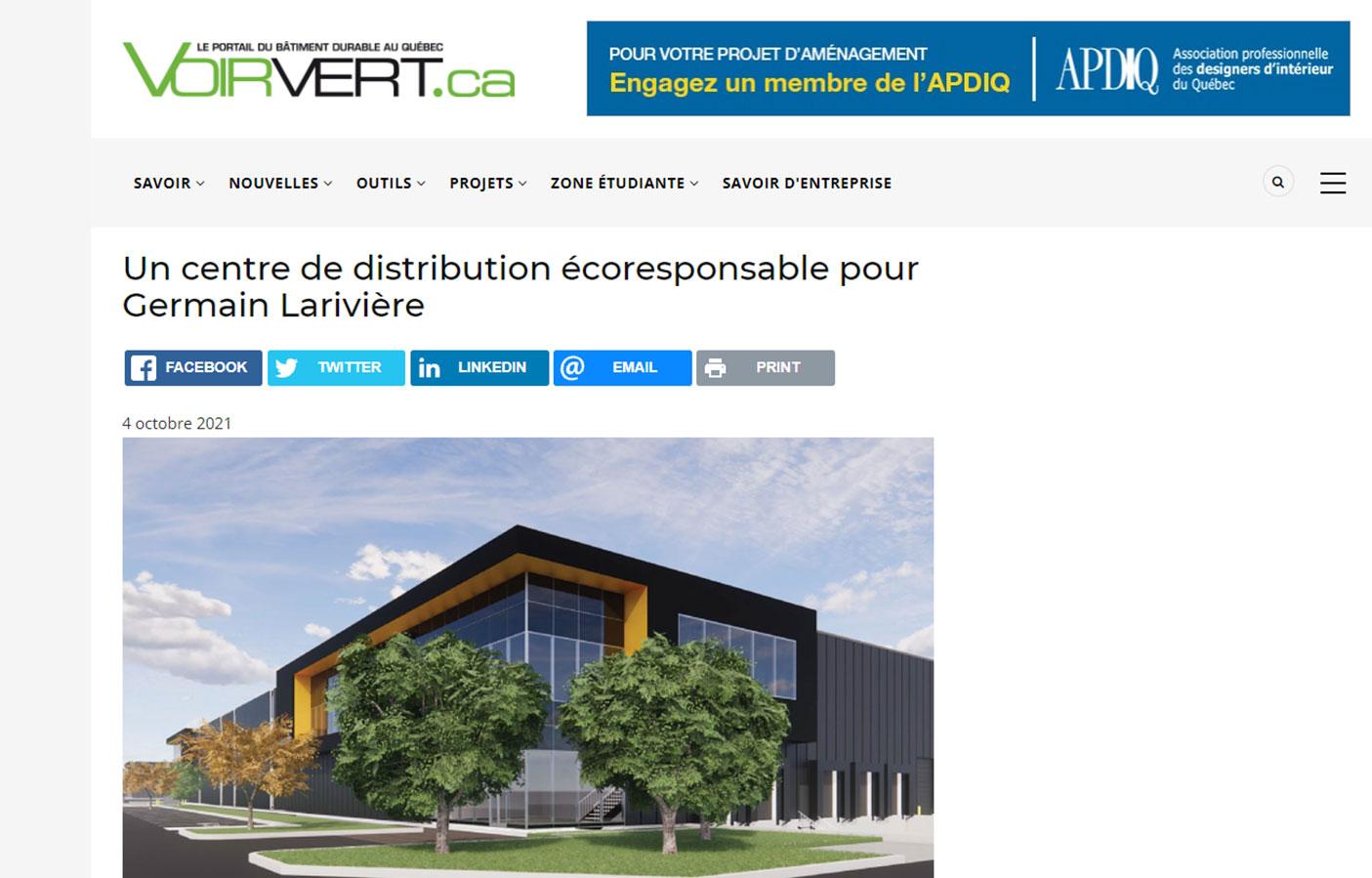Un centre de distribution écoresponsable pour Germain Larivière