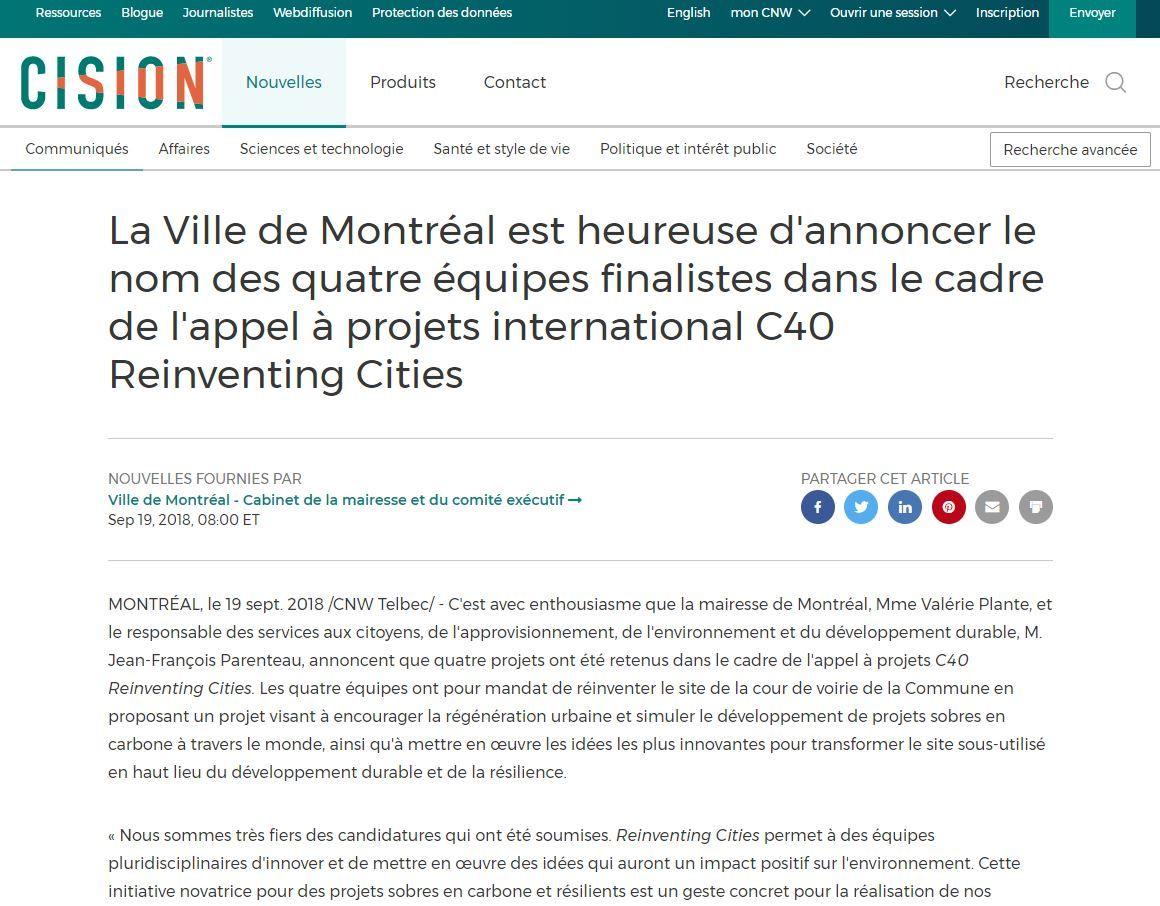 La Ville de Montréal est heureuse d'annoncer le nom des quatre équipes finalistes dans le cadre de l'appel à projets international C40 Reinventing Cities