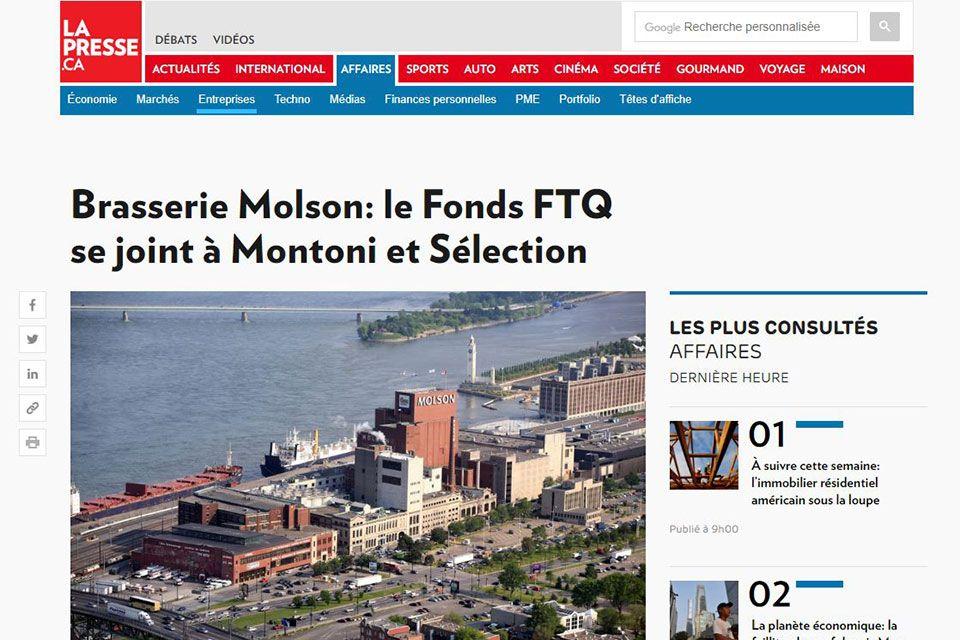 Brasserie Molson: le Fonds FTQ se joint à Montoni et Sélection