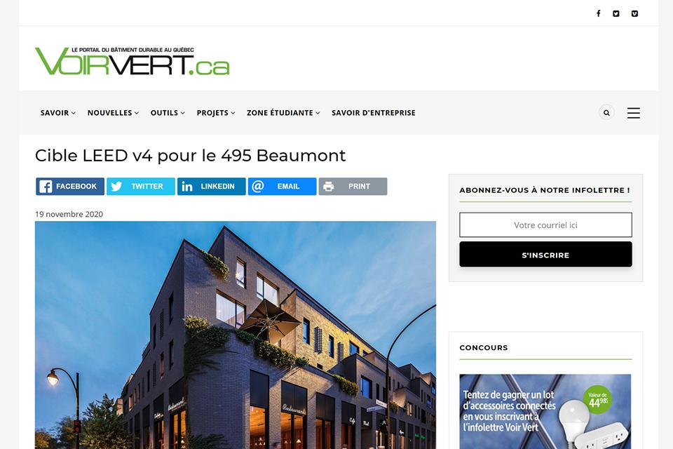 Cible LEED v4 pour le 495 Beaumont