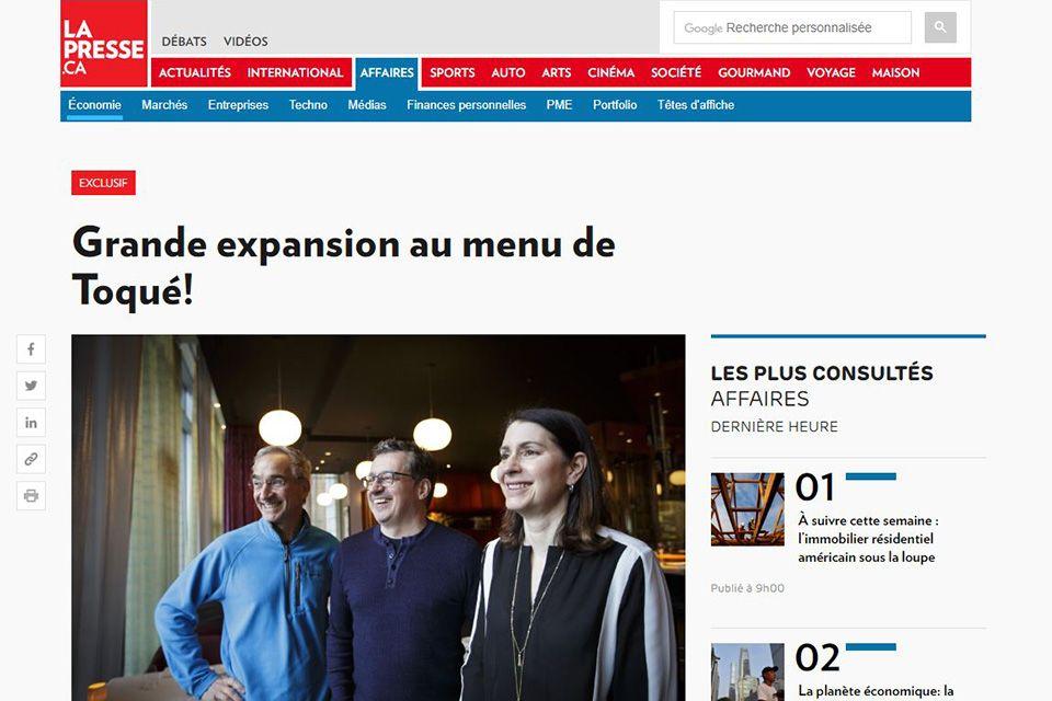 Grande expansion au menu de Toqué!