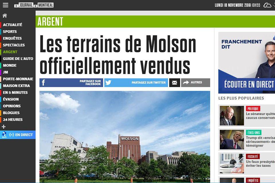 Les terrains de Molson officiellement vendus