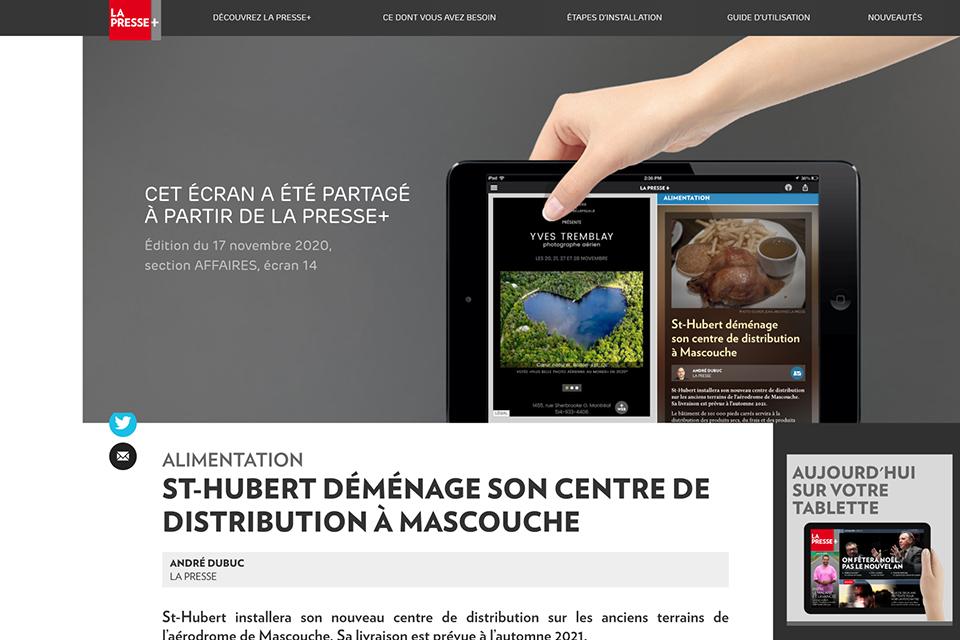 ST-HUBERT DÉMÉNAGE SON CENTRE DE DISTRIBUTION À MASCOUCHE